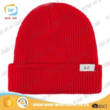 custom wholeslae high quality design your own logo 100% acrylic winter knitted wool hat for men