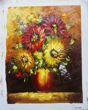 the newest design Decoration flower oil paintings red vase flower oil painting