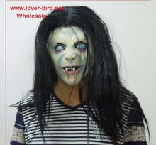 novelty Props Artificial hair+ Rubber caps Halloween witch ghost vendetta Sadako pullover horror masks scary
