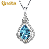 925 sterling silver micro zircon inlay natural BLUE CRYSTAL jewelry wholesale charming pendant necklace
