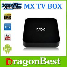 Original 1GB RAM ,8GB Flash amlogic 8726 mx firmware Dual core 4k ott tv box android 4.2 smart tv box mx