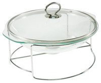 Catering Tempered Glass Chafing Dish with Glass Lid for Hotel