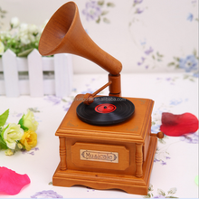 Classic Music Box Antique Wood Gramophone Love Gifts Phonograph