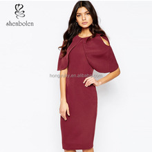 Round neckline big cape sleeve cold shoulder dresses for women 2015