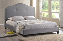 Gray Linen Modern Bed with Upholstered Headboard