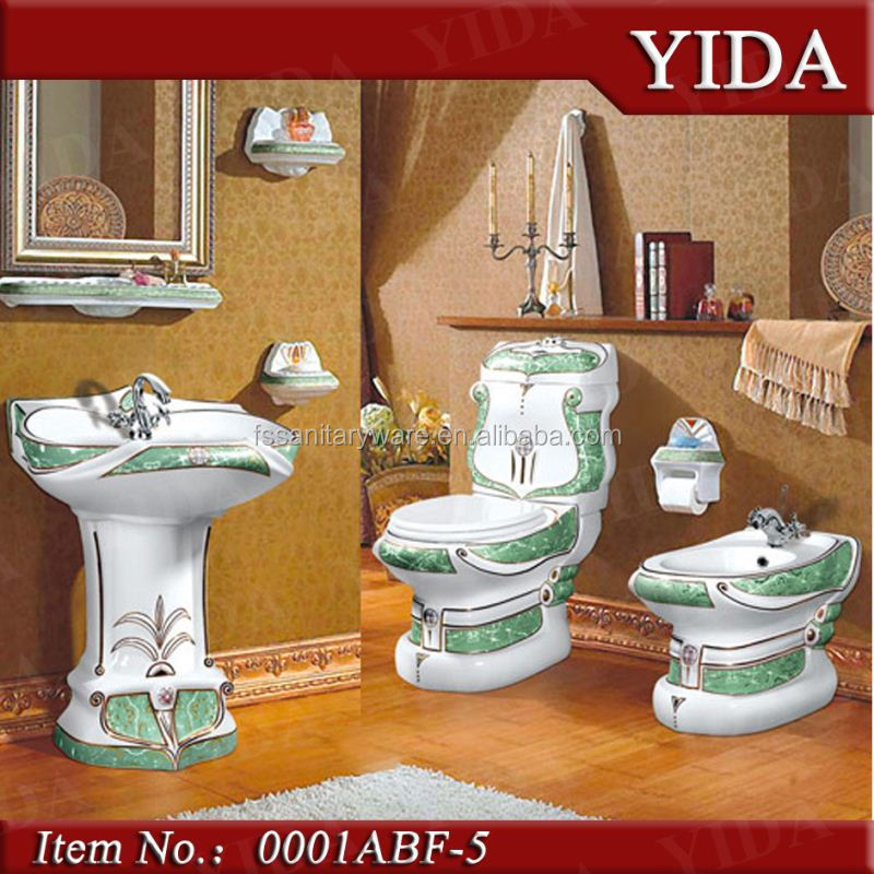 Lotus Flower Pattern Bathroom Toilet SetDecoration Beautiful Design