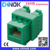 CAT5E female socket utp 8p8c green color 180 degree