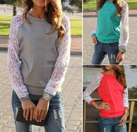 Hot 2015 Women Hoody Spring Autumn Fashion Lace Patchwork Hoodies Casual acket Coat Blouse Tops