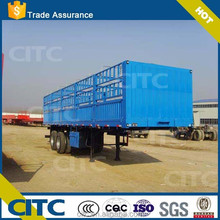 CITC quality double axles livestock truck trailer semi truck trailer with stake-box or cage for sale