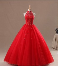 WD093 Real Picture Luxury Halter Sequins Beaded Backless Ball Gown Tulle Red Wedding Dress