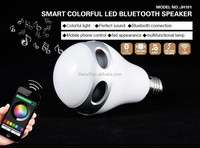2015 latest design smart bluetooth Music flashing colored RGBW led light bulb speaker