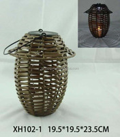 Bamboo candle lantern solar light for garden decoration