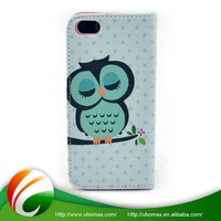 Super Quality Custom Shape Printed Leather Flip Open Case For Iphone 4/4S