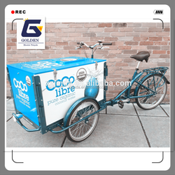 wholesale china three wheel electric ice cream pedal cargo tricycle with cabin box