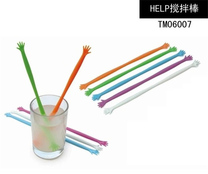 экологически чистые пластиковые кофе перемешать бар мультфильм Рука помощи мне кухня чай палочки стакан воды/кофе Кубок пара