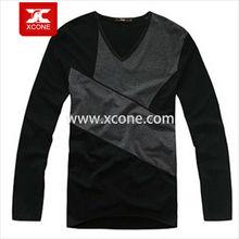 Women long sleeve plain v-neck t-shirts with no brand wholesale