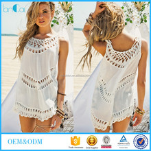 Customize Women's White Sleeveless Crochet Fashion Top