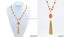 Coral amber tassel decorate costume necklace
