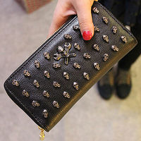 brand names bags fashion ladies purse stylish skull clutch wallet W023