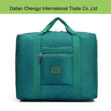 High capacity solid color square polyester luggage travel tote bag