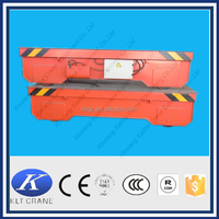Professional port using battery powered electric rail flat car for transportation