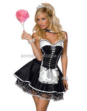 Adult women black & white sexy waitress french maid costume for carnival BWG8573