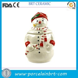 Decorate giftware christmas good selling ceramic Snowman Candy Jar