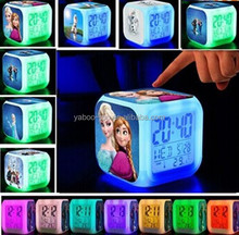(Hot Gift) 2015 Hot Movie Frozen LED Alarm Clock, Elsa Anna Olaf Digital Alarm Clock, 7 color LED Frozen Clock