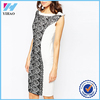 Dongguan Yihao 2015 Summer New Model Ladies White Fashion Pencil Dress with Lace Panel Sleeveless Casual Dresses For Women