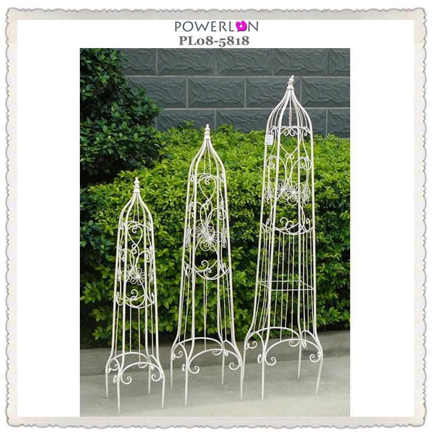 Bentley Garden Wrought Iron Set Of 2 Metal Obelisks: Wrought Iron Obelisk For Flower To Climbe In Garden