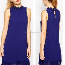 Fancy latest design sleeveless mini deep blue casual dress