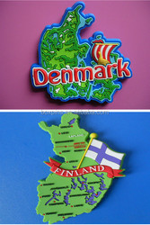 Country Map Soft PVC Fridge Magnet for Denmark and Finland