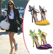 Europe and the United States Sophia vampire diaries butterfly wings patent leather women pumps high heeled shoes
