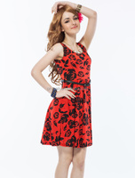 2014 top quality floral girl dresses with rose flower summer beach dresses for beach party with belt