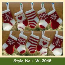W-2048 baby cute christmas crochet socks hand knit christmas stocking