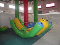 Green and yellow single lane inflatable water seesaw LQSSV-002