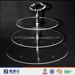 Wholesale Custom 3 or 5Tier Crystal Clear Acrylic Round Cake Cupcake Stand,acrylic cake display stand