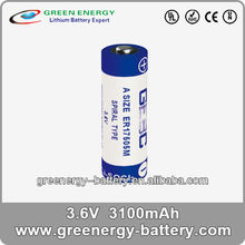 A size Spiral type ER17505M 3100mah tadiran 3.6v lithium battery replacement