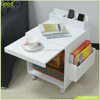 Easy move with wheels sofa side wooden folding table