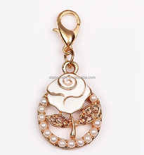 2015 new gold rose flower pendant with lobster clasp pearl rhinestone flower charms pendant