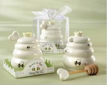 """""""Meant to Bee"""" Ceramic Honey Pot + heart honey stirrer Wedding Gift Porcelain Honey Jar"""