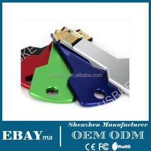 Metal mateiral key shape usb sticks 2.0 8gb 16gb promotional colorful key usb flash drive