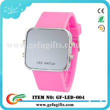 China wholesale 2015 sport style silicone wristband mirror led watch for women