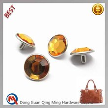 15mm Metal Decoration Rivet With Crystal For Bag Accessories