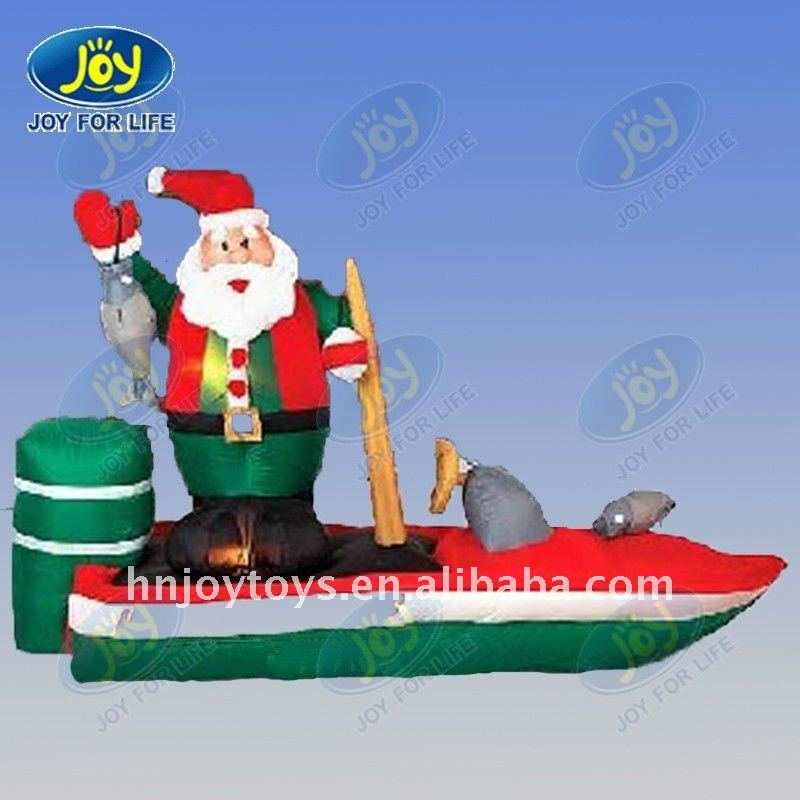 Pop inflatable santa hooked on christmas bass boat