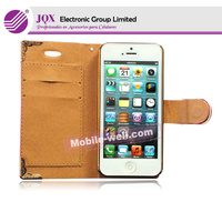 For iphone 5 pc pu leather flip case with high quality