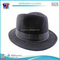 Perfect short brim black felt fedora hat with black band for men
