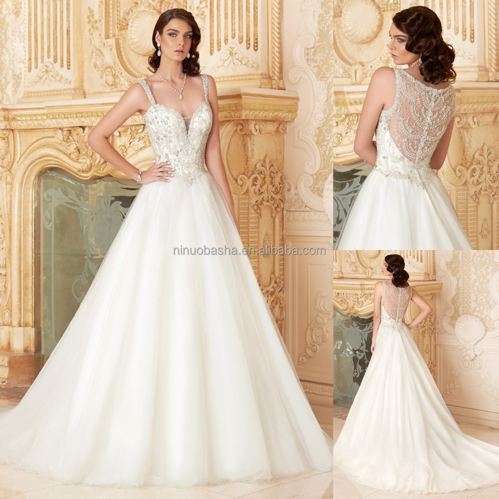 2015 Luxury A-line Wedding Dress With Straps Sweetheart Sheer Back ...