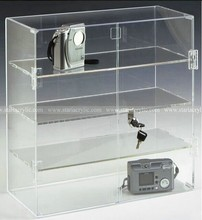 Clear Acrylic Display Case With lock , 3 Shelves let you showcase an assortment of products