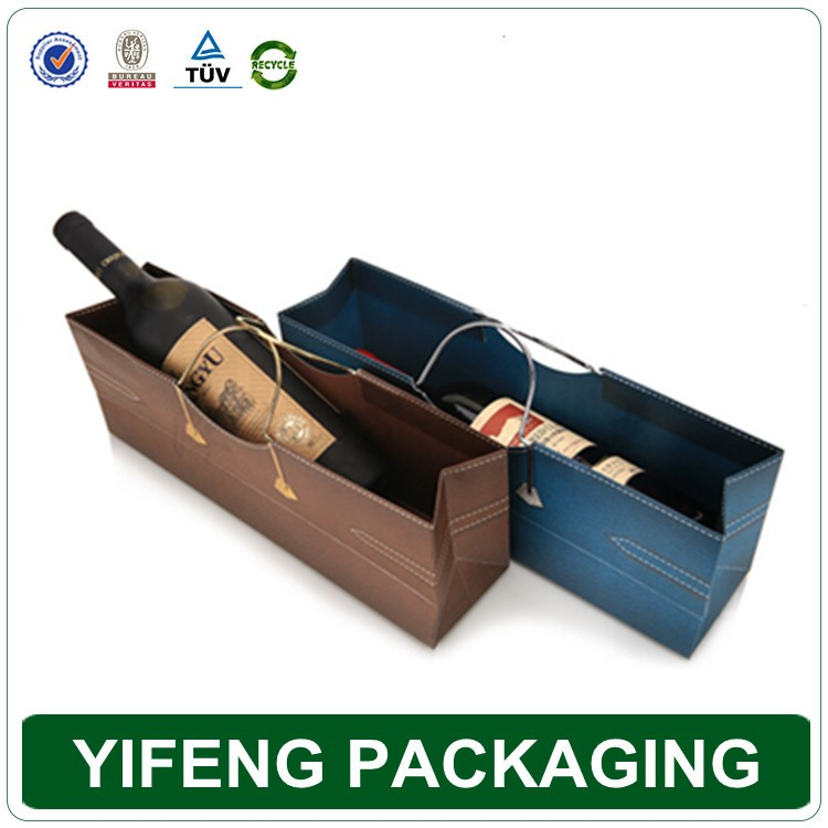 Sacos de vinho de papel personalizado único Vermelho, elegante saco de papel do presente do vinho